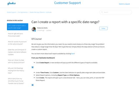 Screenshot of Support Page glooko.com - Can I create a report with a specific date range?  – Glooko Support - captured June 8, 2017