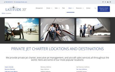 Screenshot of Locations Page l33jets.com - Private Jet Destination Locations   Latitude 33 Aviation - captured Sept. 27, 2018
