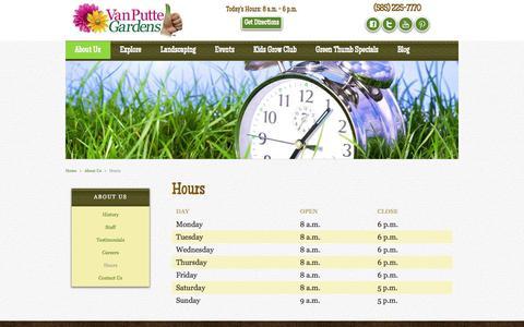 Screenshot of Hours Page vanputte.com - Hours - captured Oct. 3, 2014