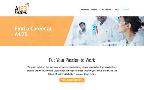Screenshot of Jobs Page a123systems.com - Careers | A123 Systems - captured July 12, 2018