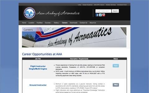 Screenshot of Jobs Page aaa-fta.com - Career Opportinities | Asian Academy of Aeronautics - captured Oct. 4, 2014