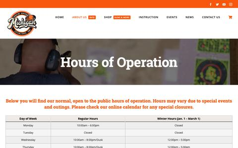 Screenshot of Hours Page mishoot.com - Hours of Operation - Michigan Shooting Centers | Island Lake and Bald Mountain Shooting Ranges - captured Oct. 18, 2018