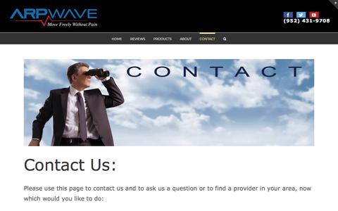 Screenshot of Contact Page arpwave.com - contact arpwave - captured Nov. 19, 2019