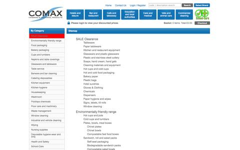 Screenshot of Site Map Page comaxuk.com - Sitemap - Comax UK - Catering and Janitorial Products - captured Oct. 2, 2014