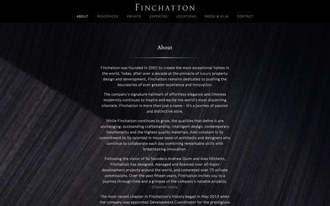 Screenshot of About Page finchatton.com - Luxury Property Design | London | Finchatton bespoke interior design - captured Feb. 7, 2018