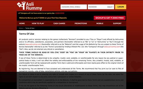 Terms Of Use - Aslirummy.com