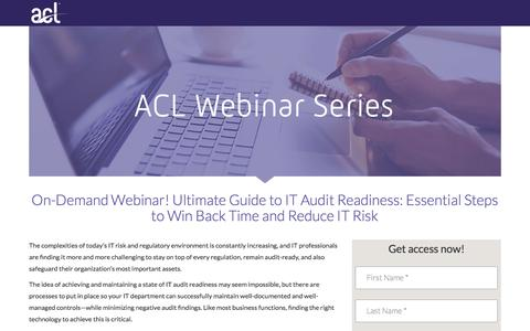 Screenshot of Landing Page acl.com - Ultimate Guide to IT Audit Readiness: Essential Steps to Win Back Time and Reduce IT Risk - captured Sept. 19, 2018