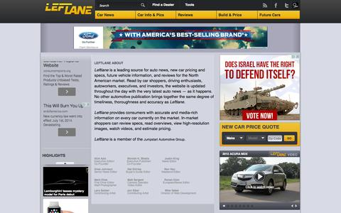 Screenshot of About Page leftlanenews.com - Leftlane - About - captured Sept. 18, 2014