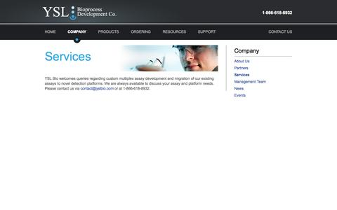 Screenshot of Services Page yslbio.com - Services |  YSL Bioprocess Development Co. - captured Oct. 4, 2014