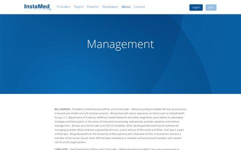 Screenshot of Team Page instamed.com - Management - InstaMed - captured Sept. 27, 2017