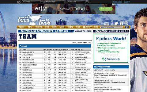 Screenshot of Team Page nhl.com - Blues Roster - St Louis Blues - Team - captured Sept. 19, 2014
