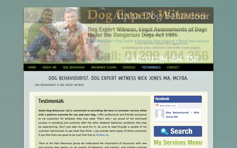 Screenshot of Testimonials Page alphadogbehaviour.co.uk - Dog behaviour testimonials. See why owners and vets endorse me. - captured Dec. 24, 2015