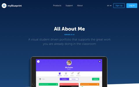 Screenshot of Products Page myblueprint.ca - myBlueprint.ca | All About Me - captured Sept. 22, 2018