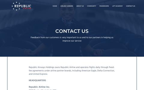 Screenshot of Contact Page rjet.com - Contact Us | Republic Airline - captured Sept. 23, 2018
