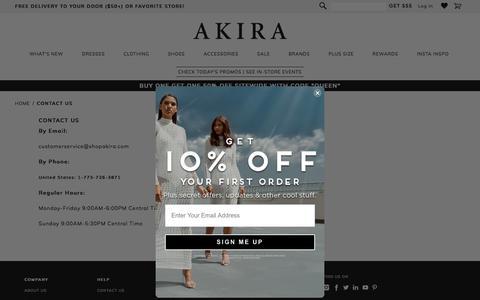 Screenshot of Contact Page shopakira.com - Contact Us - captured Aug. 22, 2019