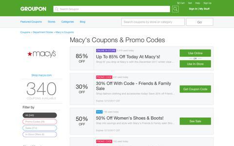 85% Off Macy's Coupons, Promo Codes & Deals, December 2017 - Groupon | Groupon