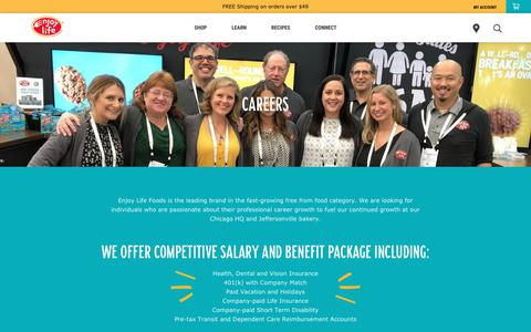 Screenshot of Jobs Page enjoylifefoods.com - Careers – Enjoy Life Foods - captured March 31, 2019