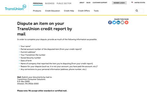 Screenshot of Support Page transunion.com - Dispute Credit Report by Mail | Transunion - captured Feb. 20, 2019