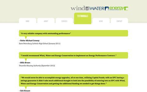 Screenshot of Testimonials Page windwaterenergy.com - Testimonials | Wind Water and Energy Conservation - captured Oct. 26, 2014