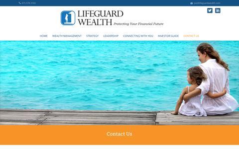Screenshot of Contact Page lifeguardwealth.com - Lifeguard Wealth - CONTACT US - captured Jan. 19, 2016