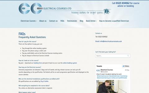 Screenshot of FAQ Page electricalcoursesuk.co.uk - Frequently asked questions about our Electrical Courses. - captured Oct. 2, 2014