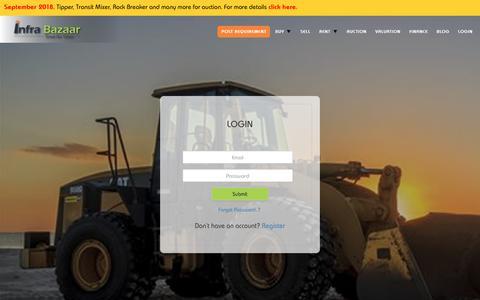 Screenshot of Login Page infrabazaar.com - Login - Buy, Sell, Rent, Auction, Finance & Valuate Heavy Equipment and Machinery Online | Infra Bazaar - captured Sept. 23, 2018