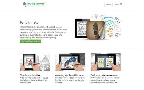 Screenshot of evernote.com - Penultimate | Evernote - captured Oct. 11, 2014