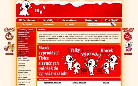 Screenshot of Home Page maxikovy-hracky.cz - Hračky, Maxíkovy hračky - captured Jan. 20, 2016