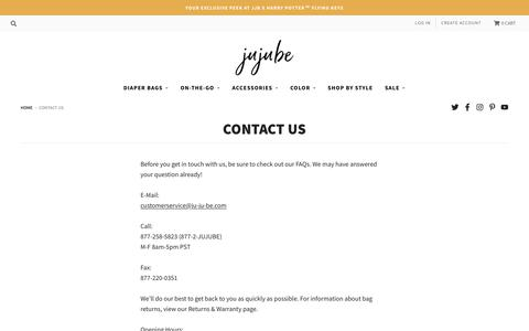 Screenshot of Contact Page jujube.com - Questions? Contact Us Today! | At JuJuBe We Love Our Customers! - captured Aug. 16, 2019