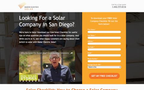 Screenshot of Landing Page bakerelectricsolar.com - Review Solar Companies With Our Free Checklist - captured Aug. 19, 2016