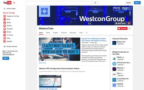 Screenshot of YouTube Page youtube.com - WestconTube  - YouTube - captured Oct. 26, 2014