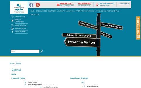 Screenshot of Site Map Page apollohospdelhi.com - HTML Sitemap - Indraprastha Apollo Hospitals, Delhi - captured Nov. 26, 2016