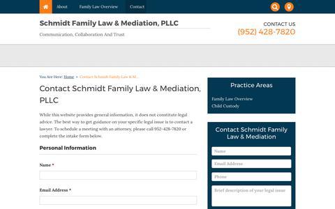 Screenshot of Contact Page schmidtfamilylaw.com - Contact Schmidt Family Law & Mediation, PLLC | Edina, Minnesota - captured Oct. 5, 2017