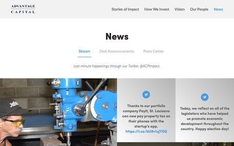 Screenshot of Press Page advantagecap.com - Stream - captured Nov. 20, 2016