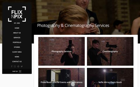 Screenshot of Services Page flixnpix.co.uk - Photography & Cinematography Services | Flix'n'Pix - captured Aug. 16, 2018