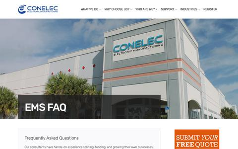 Screenshot of FAQ Page conelec.net - EMS FAQ - Conelec Electronic Manufacturing - captured Aug. 23, 2017