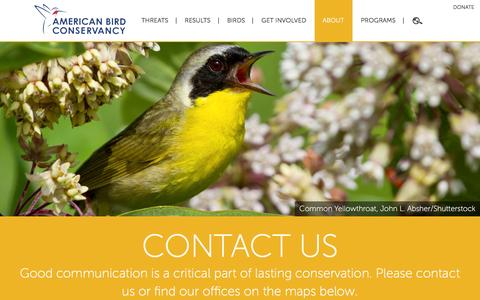 Screenshot of Contact Page abcbirds.org - Contact Us | American Bird Conservancy - captured Jan. 17, 2016