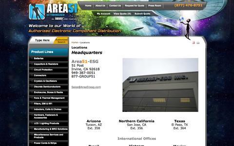 Screenshot of Locations Page area51esg.com - Locations  - Area51 - ESG - captured Sept. 19, 2014