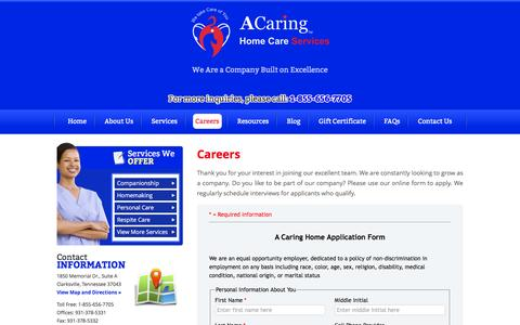 Screenshot of Jobs Page acaringhomecareclarksville.com - A Caring Home Care Services Đ Non-Medical Home Care in Clarksville, Tennessee - Careers - captured Jan. 15, 2016