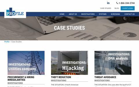 Screenshot of Case Studies Page profileinc.com - Case Studies - Profile - captured Nov. 14, 2016