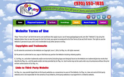 Screenshot of Terms Page goplayplaygrounds.com - Indoor & Outdoor Commercial Playground Equipment - Colorado | Go Play, Inc. - captured Nov. 10, 2016
