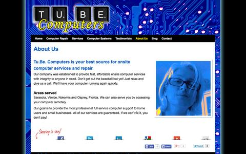 Screenshot of About Page tubecomputers.com - About Tu.Be. Computers onsite services in Venice | Sarasota | Nokomis | Osprey | Tu.Be. Computers - captured Oct. 6, 2014