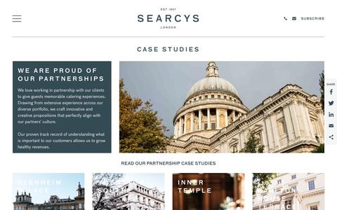 Screenshot of Case Studies Page searcys.co.uk - Our Venue and Event Partnerships - Case Studies | Searcys - captured Sept. 21, 2018