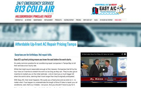 Screenshot of Pricing Page easyac.net - Affordable Up-Front AC Repair Pricing Tampa | Easy AC - captured Sept. 27, 2014