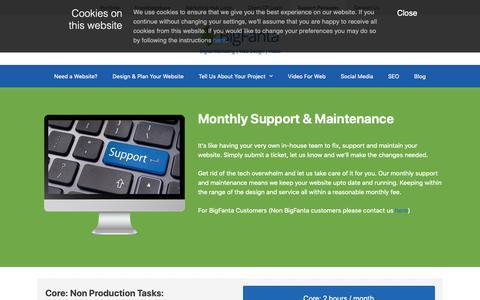 Screenshot of Support Page bigfanta.com - Support Packages | BigFanta - captured Oct. 5, 2018