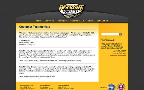 Screenshot of Testimonials Page petrofftrucking.com - Testimonials - captured Oct. 2, 2014