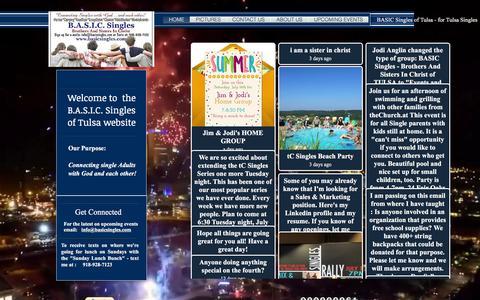 Screenshot of Home Page basicsingles.com - Tulsa Singles - captured July 12, 2016