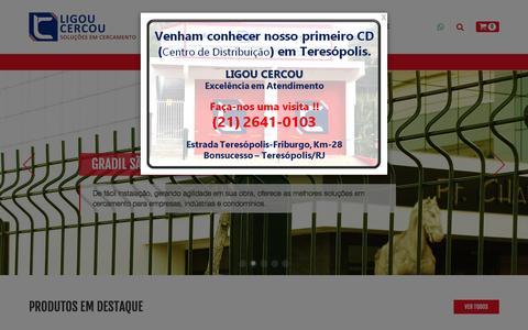 Screenshot of Home Page ligoucercou.com.br - Ligou Cercou Soluções em cercamentos - Gradil, Telas e Alambrados - captured Dec. 22, 2016