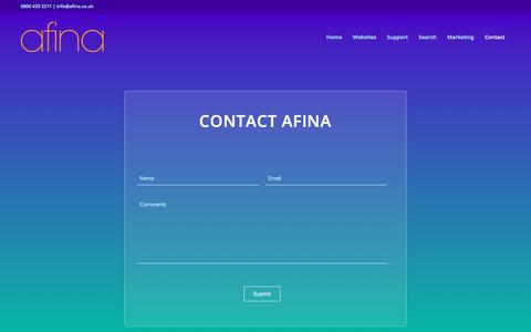 Screenshot of About Page afina.co.uk - Contact Afina - Afina Cornwall - captured Feb. 16, 2018