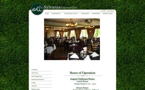 Screenshot of Hours Page sylvaniacc.org - Hours of Operation - Sylvania Country Club - captured Oct. 6, 2014